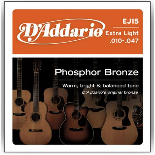 D'Addario EJ15 Extra Light Phosphor Bronze Acoustic 10-47